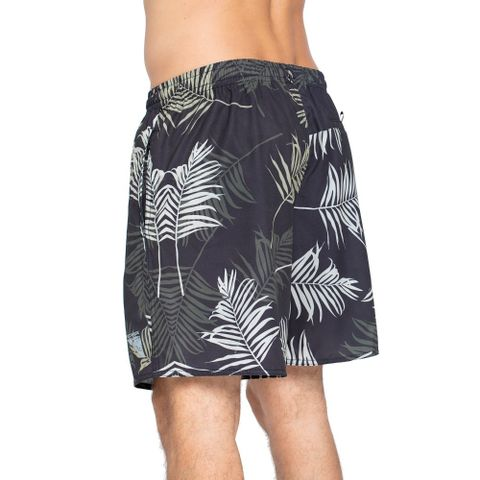 SHORTS-RED-NOSE-SAND-LEAFS-PRETO