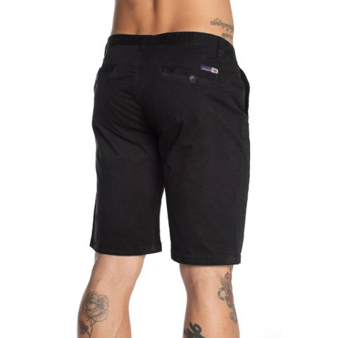 BERMUDA-SARJA-MASCULINA-SOUTH-LA---RED-NOSE-PRETO