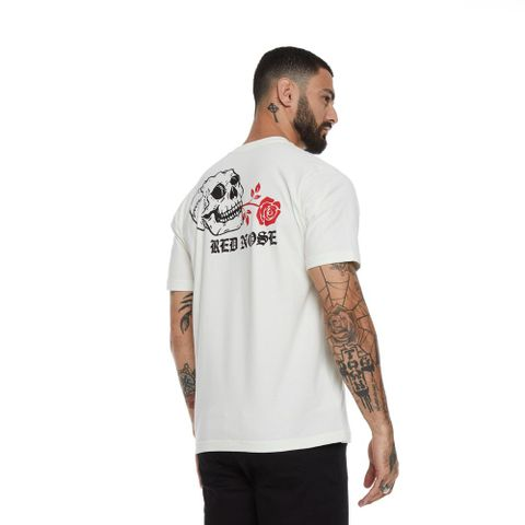 CAMISETA-MASCULINA-ROSESKULL---RED-NOSE-BRANCO