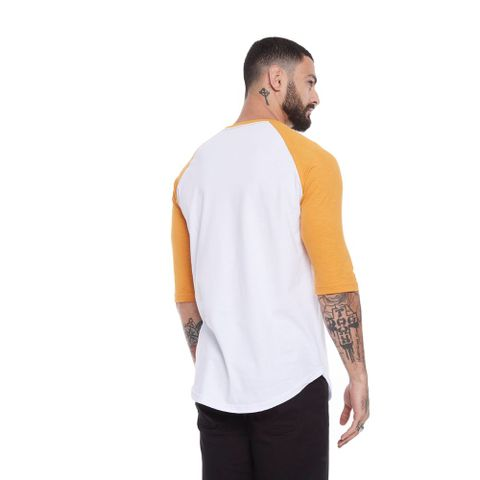 CAMISETA-MASCULINA-RAGLAN-YELLOW-ROSE---RED-NOSE-MOSTARDA