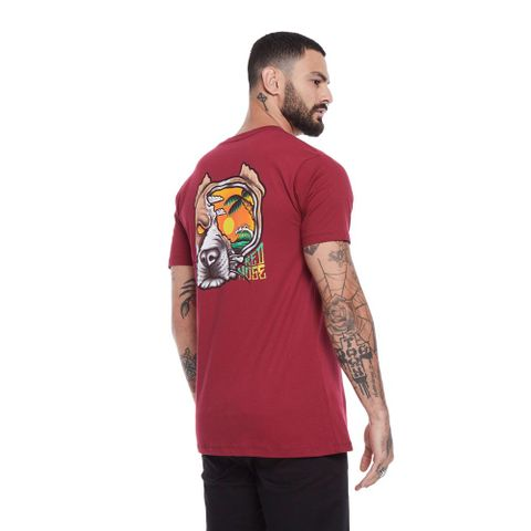 CAMISETA-MASCULINA-DOG-SEAS---RED-NOSE-VINHO